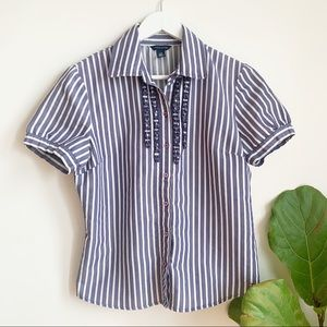 Tommy Hilfiger Striped Button Down Shirt Size L